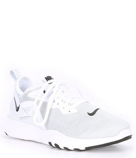 From Nike, the Women\'s Flex Trainer 9 Training Shoe features:Mesh in the forefoot enhances breathabilityHeel strap adds White Nike Shoes, Nike Air Shoes, Nike Tennis Shoes, White Nikes, Black Shoes, Cool Nike Shoes, Sports Shoes, Womens White Sneakers, All White Shoes