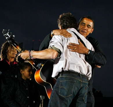 The First Boss hugs The Boss.  (please note source.)