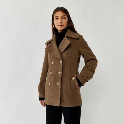 Warehouse Short Pea Coat Khaki 1, Womens Short Pea Coat Uk