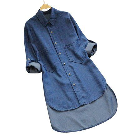 Jdinms - JDinms Women Botton Down Denim Shirt Dress Tunic Tops ...