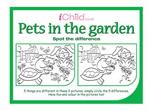 Spot The Difference Pets In Garden Good For Young ESL Learners Animal And There Is Isnt Practice