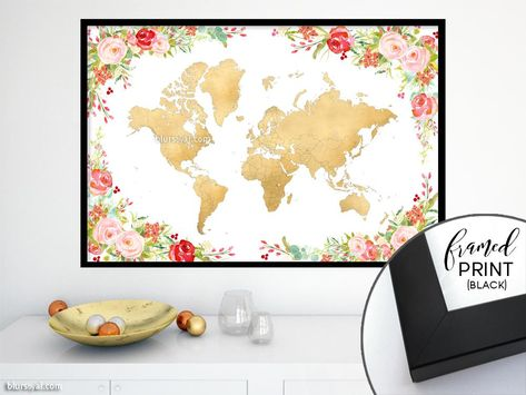 Floral and gold world map framed print janna blursbyais new floral and gold world map framed print janna colorful floral world map framed print without labels designed by rosana laiz from blursbyai gumiabroncs Gallery