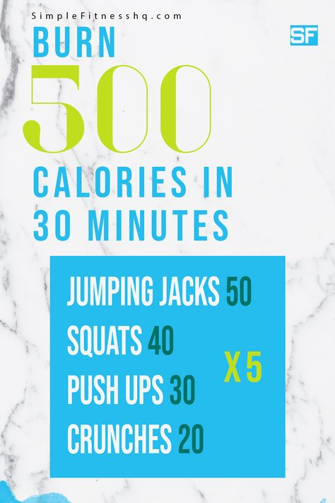 How To Burn 500 Calories In 30 Minutes - SimpleFitness Burn 500 Calories Workout, 500 Calorie Workout, 30 Minute Cardio Workout, Calorie Burning Workouts, Cardio Workout At Home, Fat Burning Workout, Burn Calories, At Home Workouts, 1000 Calorie Burn