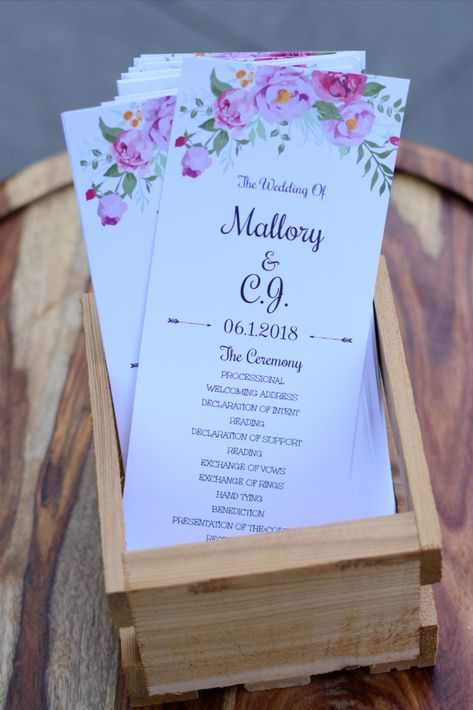 Spring wedding ceremony programs for a lakeside wedding in New Jersey | Photographer: JC Wood