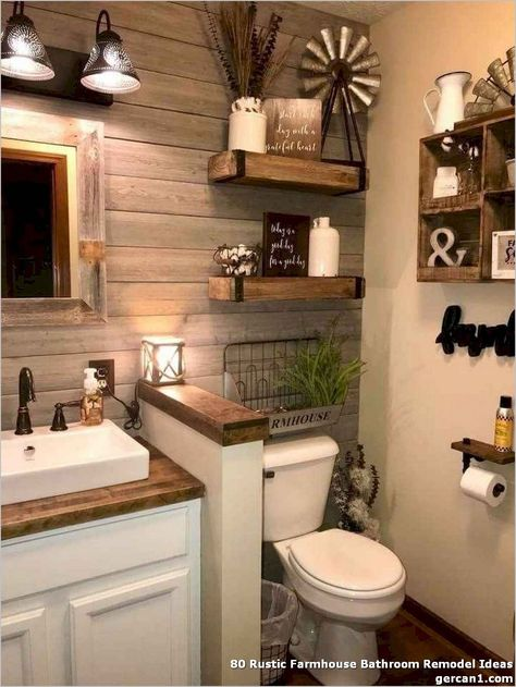 ❤ 80 Rustic Farmhouse Bathroom Remodel Ideas - Flip your clear white and gray rest room into trendy farmhouse rest room by including pure wooden farmhouse bench identical to Min Day architects did.  #RusticFarmhouseBathroomRemodelIdeas #FarmhouseBathroomRemodelIdeas #BathroomRemodelIdeas #BathroomIdeas