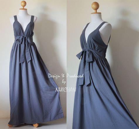 Gray Cocktail Bridesmaid Long Summer Evening Dress