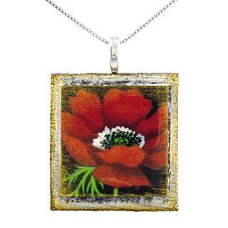 Eco Art Print Necklace Red Poppy Poppy Art Art Prints