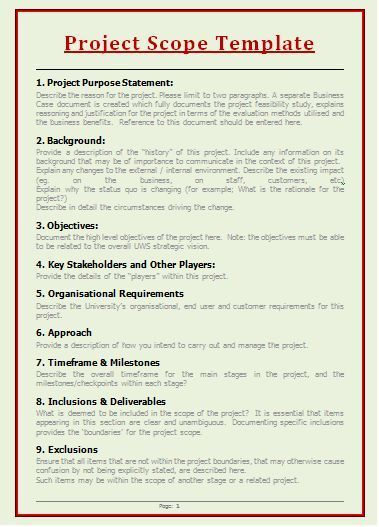 Project Scope Templates Project Management Templates Project