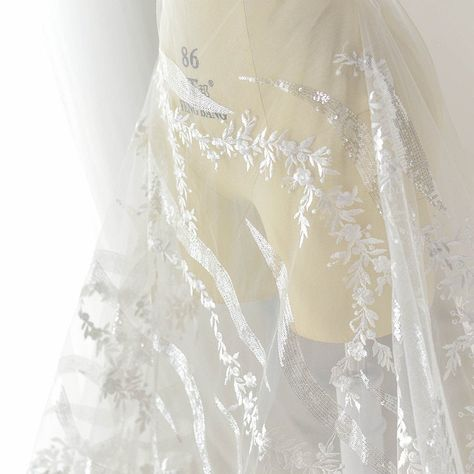 2 Yards Milk silk Mesh embroidery lace DIY Wedding dress Sewing accessories