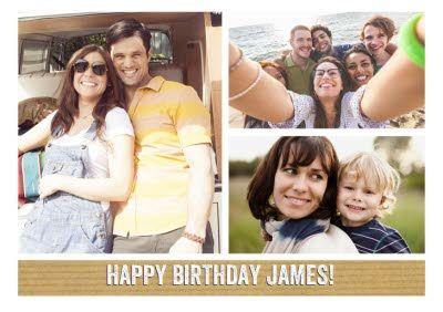 Classic 3 Square Personalised Photo Upload Happy Birthday Card In 2021 Happy Birthday Cards Birthday Cards Happy Birthday