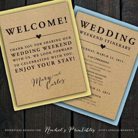 Looks so cute printed on Kraft Paper! Printable wedding welcome notes and matching itinerary card - print seperately or double sided - great to put in out of town bags, hotel welcome bags, or for a destination wedding.