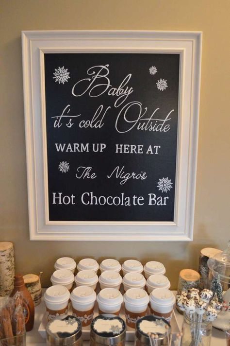 Hot cocoa bar at a Winter Wonderland party! See more party planning ideas at CatchMyParty.com!