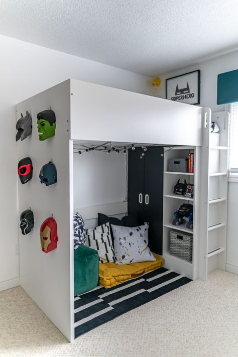 Modern Superhero Boys Bedroom Makeover: One Room Challenge Week 6 REVEAL - Amidst the Chaos Boys Superhero Bedroom, Marvel Bedroom, Boys Bedroom Themes, Superhero Room Decor, Bedroom Ideas, Kids Bedroom, Cool Bedrooms For Boys, Little Boys Rooms, Awesome Bedrooms