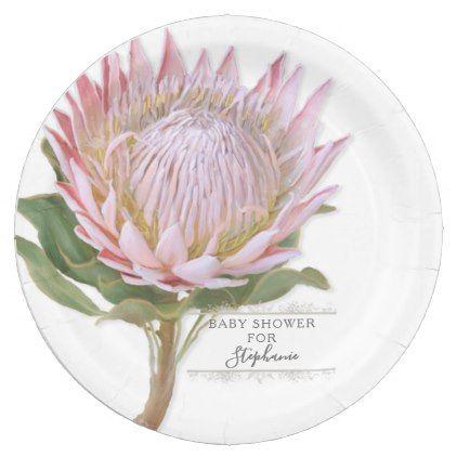 Paper Party Modern Floral Pink Protea Flower Paper Plate Zazzle Com Protea Flower Paper Flowers Modern Floral