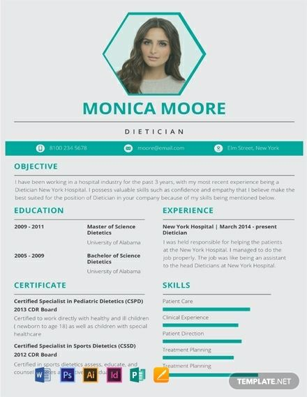 Dietitian Resume Cv Template Word Psd Indesign Apple Pages Illustrator Publisher Cv Template Word Resume Template Resume Design Template