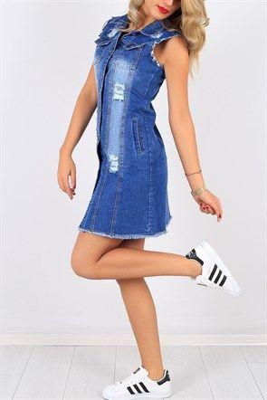 Kolsuz Cepli Bayan Kot Elbise 6754b Kot Elbiseler Mini Elbiseler Moda Stilleri