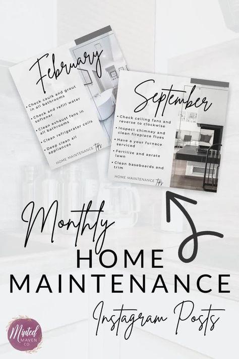 12 Real Estate INSTAGRAM Posts, Real Estate Monthly Maintenance Social Media Posts, Real Estate Instagram, Real Estate Marketing