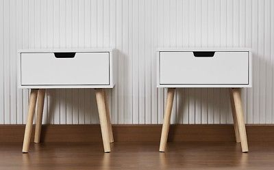 Pair Of Retro Contemporary Scandi Style Bedside Cabinets Tables White Scandi Bedside Table Scandi Style Bedside Table Scandi Bedside