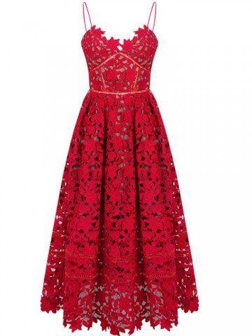 Elegant Women Strap Lace Crochet Solid V Neck A-Line Party Dress