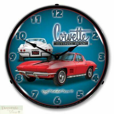 Corvette Stingray 1967 Red Vette Wall Clock 14 Lighted Backlit Chevy Usa New Fashion Home Garden Homedcor Clock Corvette Corvette Clock Corvette Stingray