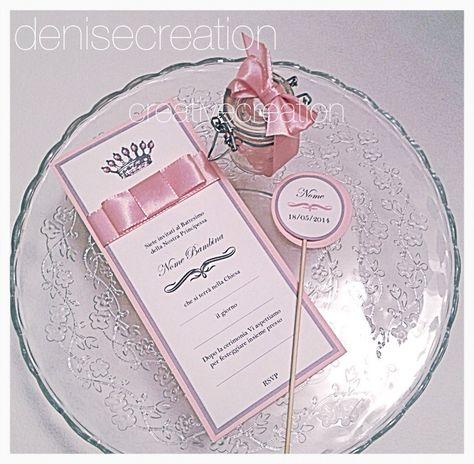 Per un dolce battesimo! Total pink! Partecipazione e bomboniera con stecchi per sweet Table a 130€ per set da 20 pz . Per info denise@creativemovement.it. Spedizioni in tuttA Italia. Anche versione maschietto