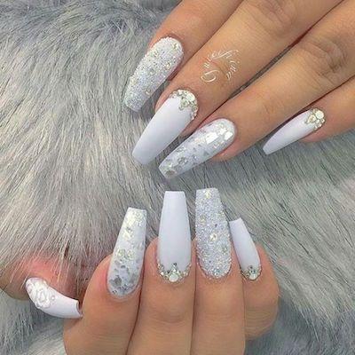 27 Christmas Nail Art Ideas To Take To The Nail Salon These Holidays Silver Acrylic Nails Diamond Nail Designs White Coffin Nails