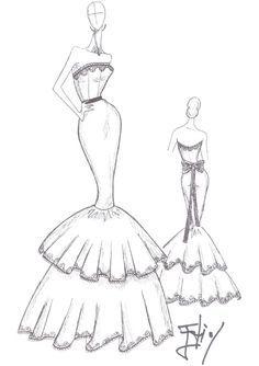 Dibujos De Diseños De Vestidos De Noche Buscar Con Google