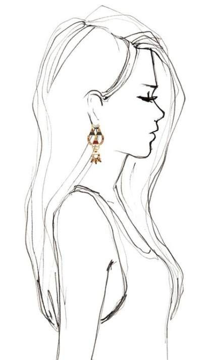 Super Fashion Illustration Simple Hair 16 Ideas Profile Drawing Girl Sketch Portrait Drawing