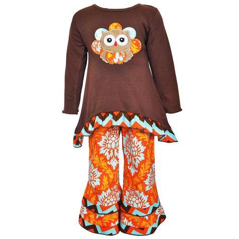 AnnLoren Girls Boutique Autumn Pumpkin Patch Shirt /& Pants Clothing