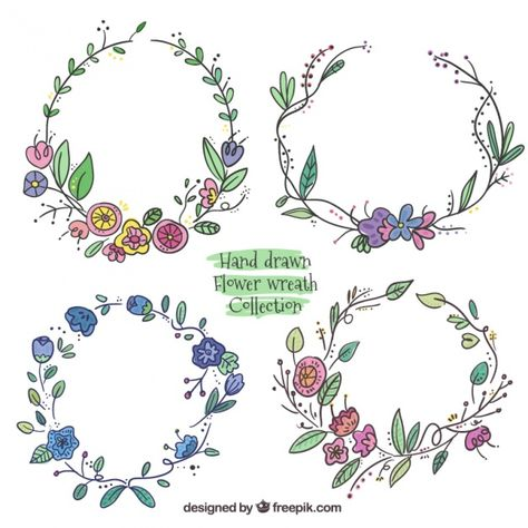 Hand drawn flower wreath collection Free Vector