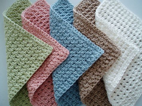 Waffle Crochet Spa Washcloth tutorial: so pretty in nice soft colors...