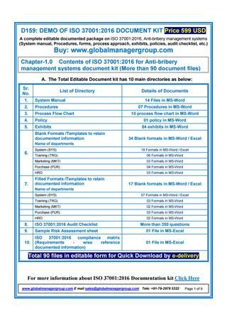 Iso 37001 2016 Documentation Requirement Documents Iso