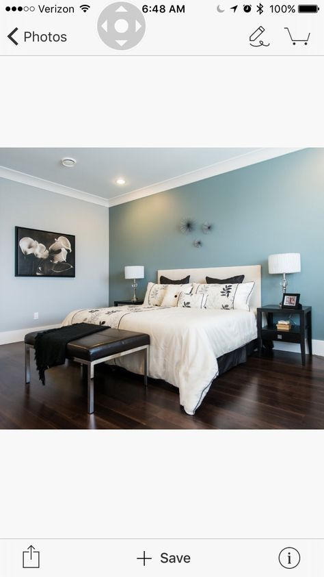 Home Reworks Design Services Inc. 11/9/15 On the headboard wall is Benjamin Moore 2123-30 Sea Star. On the other walls is Benjamin Moore 2123-50 Ocean Air.
