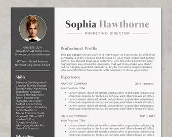 Professional Resume Template With Photo Modern Cv Word Etsy Resume Design Resume Design Professional Resume Template