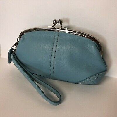 Vintage style coin purse pouch in light blue and white