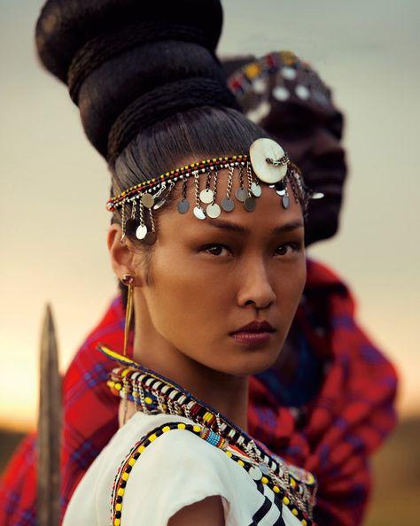 Wang Xiao by Yin Chao for Harper's Bazaar China November fashion editorial, masai
