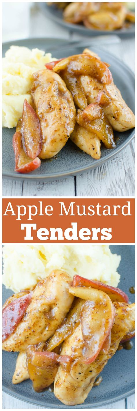Apple Mustard Chicken Tenders - family favorite fall recipe! Chicken tenders topped with sweet and spicy sauteed apples. Ready in 20 minutes and perfect over mashed potatoes or rice to soak up all the sauce!