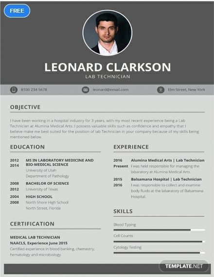 Free Lab Technician Resume With Images Lab Technician Clean