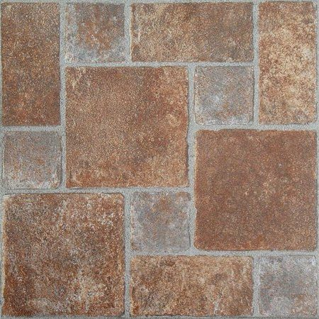 Achim Tivoli Self Adhesive Vinyl Floor Tile 45 Tiles 45 Sq Ft 12 X 12 Brick Pavers Walmart Com Vinyl Flooring Flooring Brick Pavers