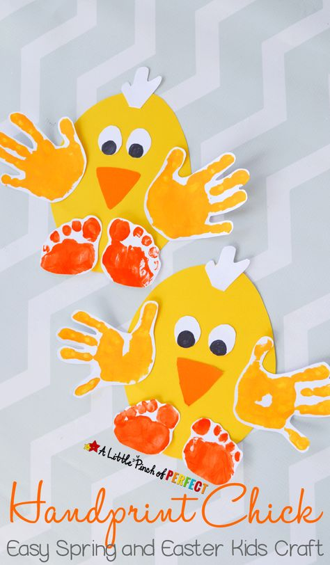 Handprint Chick: Easy Spring and Easter Craft for Kids-perfect to make for spring, Easter, or while enjoying farm themed activities. This activity was sponsored by Huggies®