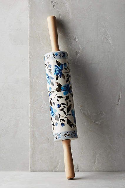 THE PIONEER WOMAN ROLLING PIN BURGUNDY AUTUMN HARVEST FALL FLORAL RARE NEW