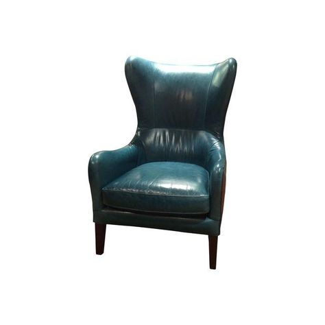 Fabulous Crate Barrel Teal Garbo Leather Wingback Chair Gahanna Machost Co Dining Chair Design Ideas Machostcouk