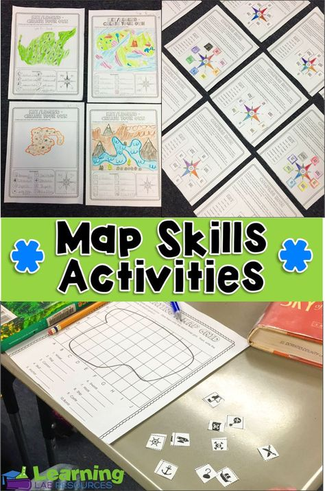 This resource has a ton of great worksheet games or activities that will increase my students map skills. I would use these as independent practice or a group activity after teaching them the different parts of a map.