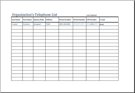 telephone list template - thevictorianparlor.co