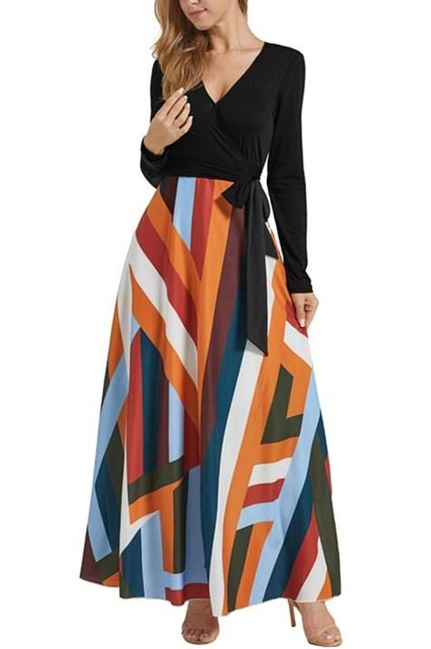 9edb9d4b270 •Solid surplice bodice darts to shape •V-shaped neckline accentuates the  bust •Define the slim waist with wrap-around ties •Flared maxi skirt design  with ...
