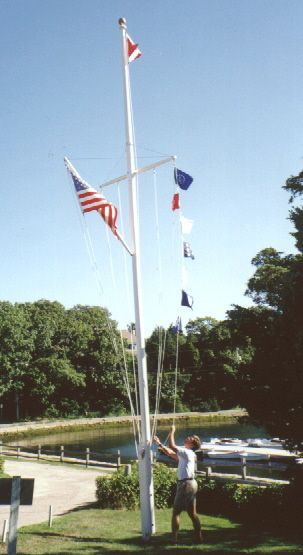 30 Wood Flagpole With Yardarm Gaff Quissett Yacht Club Quissett Ma Schooner Poles Wood Flagpole Curb Appeal Wood Outdoor Decor