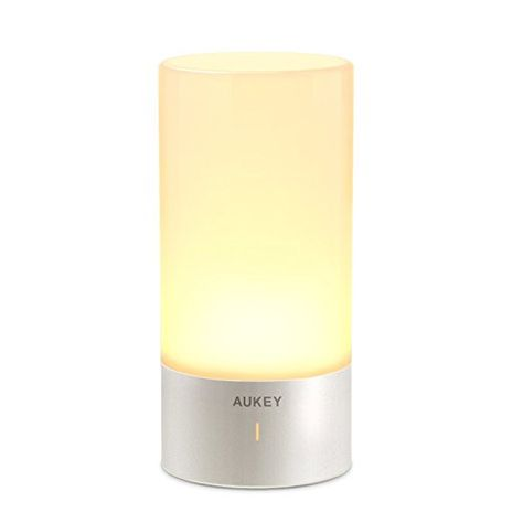 Aukey Table Lamp Touch Sensor Bedside Lamps Dimmable Warm White Light Color Changing Rgb For Bedrooms