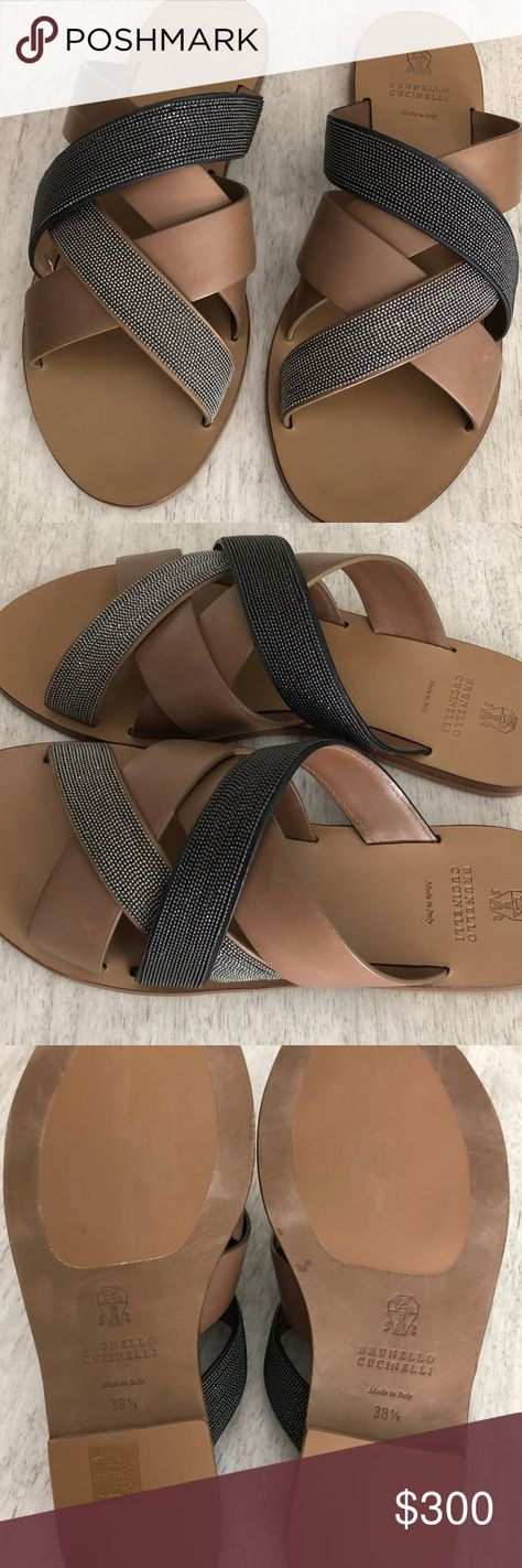 Brunello Cucinelli sandals tan and silver/pewter sandals Brunello Cucinelli Shoes Sandals