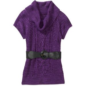 Brinley Co Juniors Short-sleeve Cable Knit Tunic Sweater ...