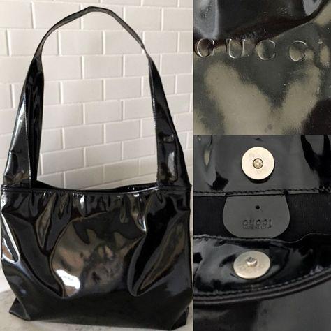 d3570461291 Vintage Gucci Handbag Black Patent Leather Shoulder Bag Purse